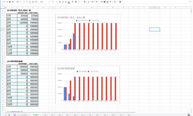 家計簿テンプレート画面2