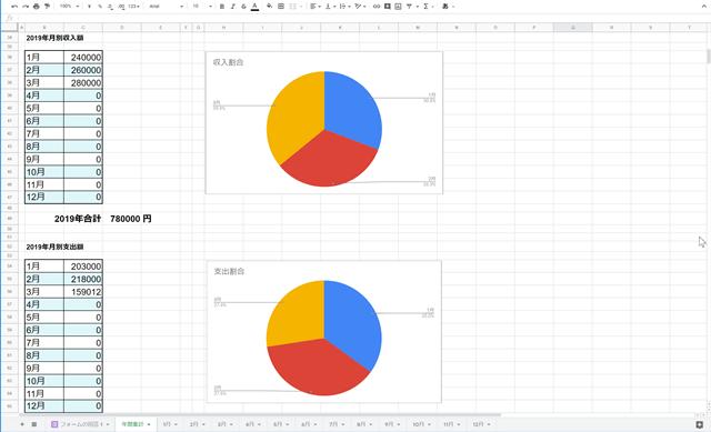 家計簿テンプレート画面3